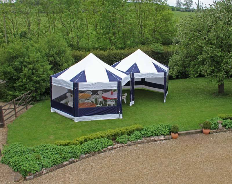 2 hex pop up tents together for a smaller party