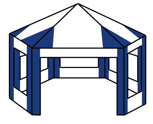 3m x 3m hexagonal tent