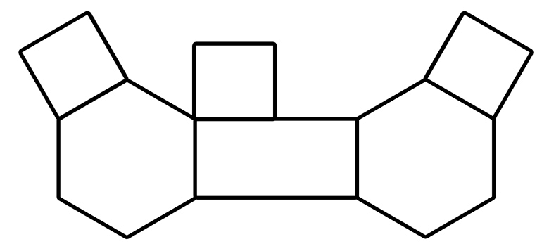 one rectangular, two hex, three square