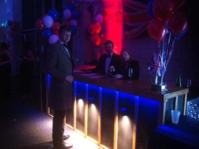 LED bar lit up at night